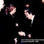 Crown Queen of Spain, Sofia de Bourbons giving award to Bronces Mestre founder, Mr. Jose María Simó Nogues