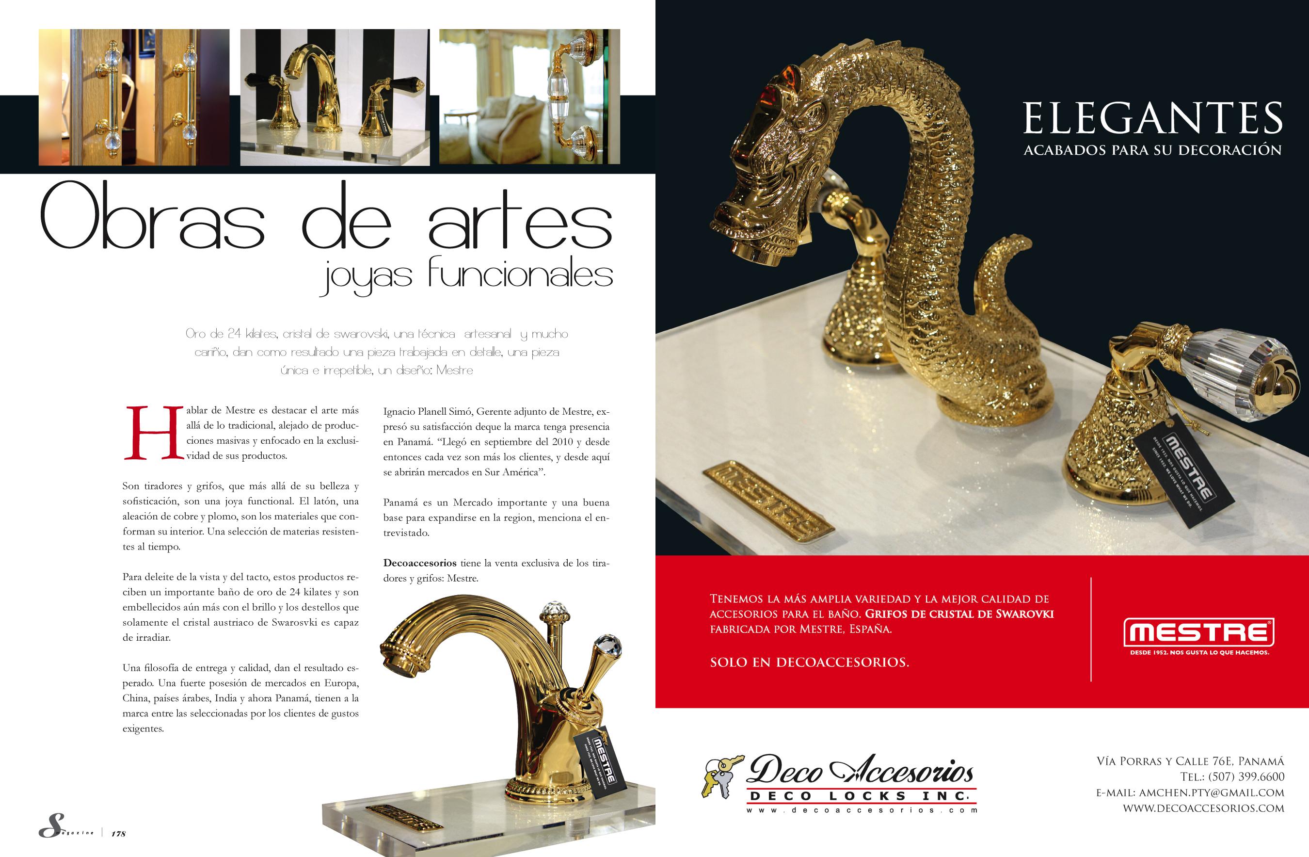 Mestre luxury bathroom taps and decorative door brassware in Panama!