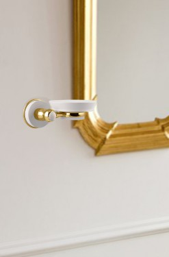 accesorio de baño dorado y blanco soft solid surface