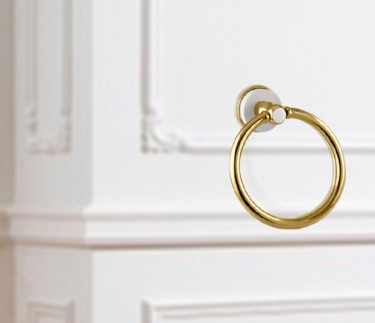 anillo toallero accesorio de baño dorado y blanco soft solid surface