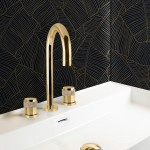 3 holes basin mixer gold bronces mestre modern spain bathroom design luxury 3